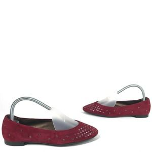 AGL Red Suede Grommet Flats 37